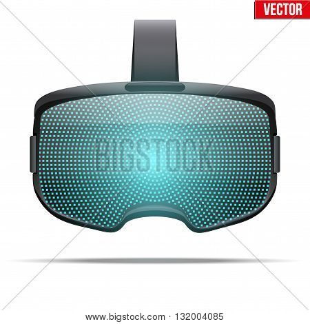 Original stereoscopic 3d vr headset with visualisation on surface. Front view. Vector illustration Isolated on white background.