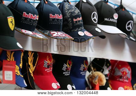 Monte-Carlo Monaco - May 28 2016: Many Different Caps of Famous Formula One Team For Sale During the Monaco Formula 1 Grand Prix 2016