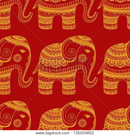 Vector pattern with indian elephants. Hand drawn doodle elephants with tribal ornament. Yellow and red colors. Seamless background.
