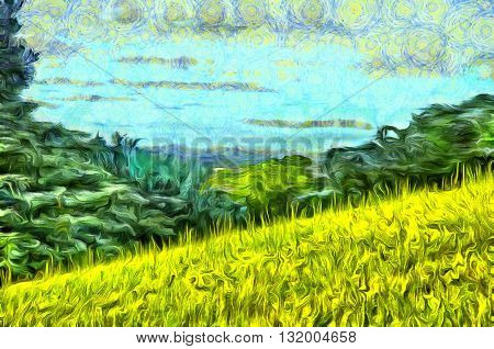 Painting grass filled hillside against a background of trees and a blue sky with clouds in the style of Vincent Van Gogh