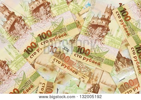 Set of one hundred Russian rubles banknotes with Crimea symbolics. Special banknote edition dedicated to incorporation of the Crimea region into Russian Federation.