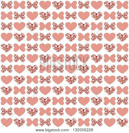 Background With Dried Flowers In Form  Of Butterfly And Heart.