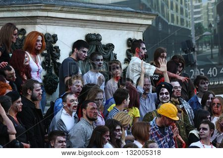 BELGRADE,SERBIA - OCTOBER 21: People with masks pose in Zombie walk within reeling of the Festival of Serbian fiction movies October 21 2012 in BelgradeSerbia