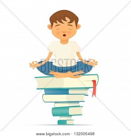 Illustration with yong yoga meditation boy siting on books. Vector illustration