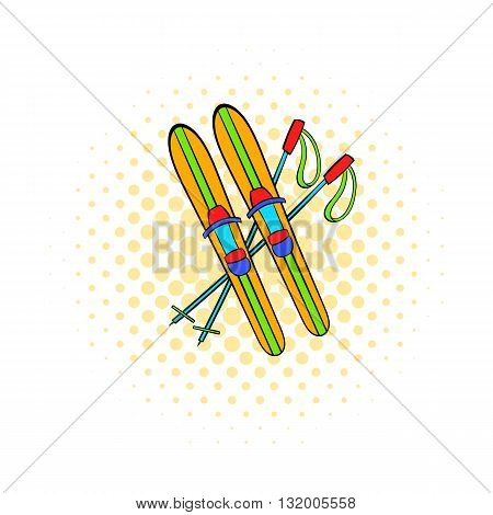 Skis and sticks icon in comics style on dotted background. Winter entertainment symbol