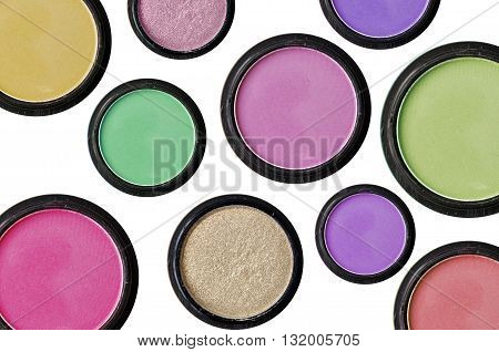 Colorful Makeup Collection on the White Background