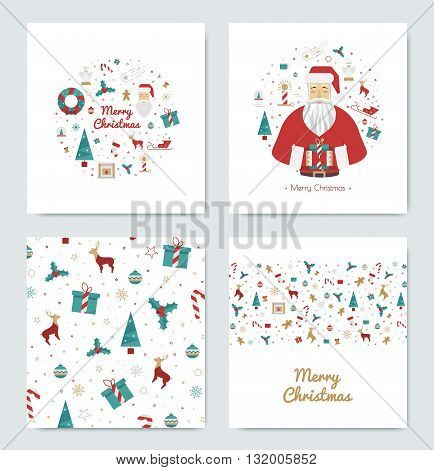 Set of greeting cards for Christmas in style flat with Santa Claus. Prints on the new year 2016 with elements of the holiday in bright colors on white background.
