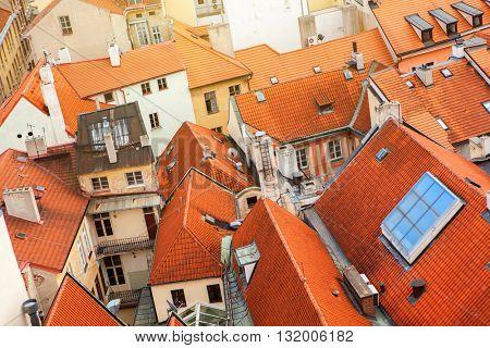 Prague houses roofs, Czech Republic