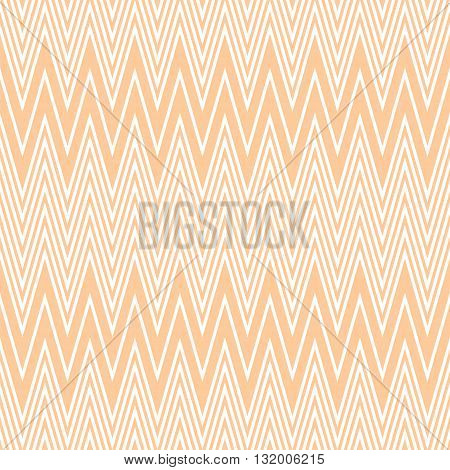 Elegant seamless pattern of horizontal zigzag in peach and white colors. Light orange continuous zig zag print. Vector illustration for various creative projects
