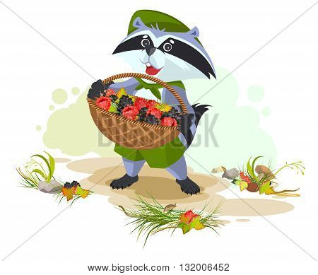 Raccoon holding basket full of berries. Blackberries and raspberries. Vector cartoon illustration