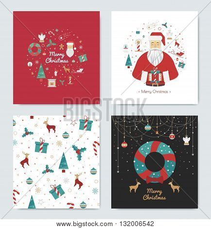 Set of Christmas cards for the holidays. Bright cards white black and red for the new year 2016. Prints Gift