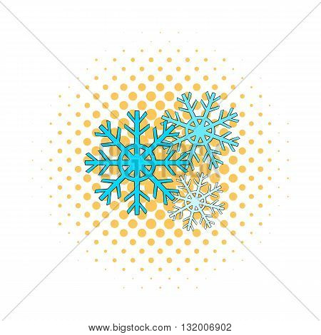 Snowflakes icon in comics style on dotted background. Winter symbol