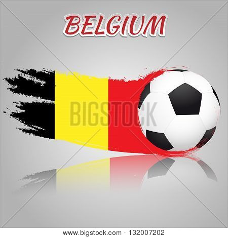 Flag of Belgium with the soccer ball. National flag in vintage style. Brush as a national flag.
