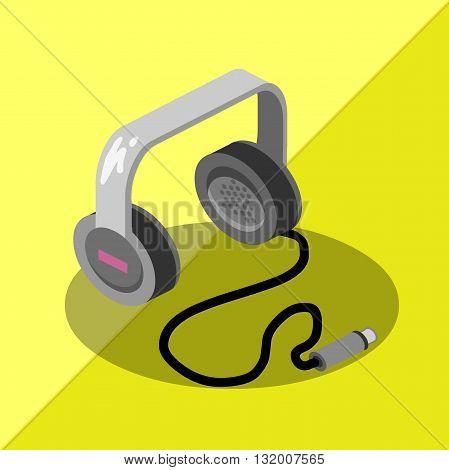 isometric earphone music saund icon dj audio