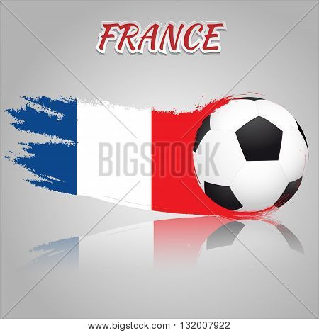 Flag of France with the soccer ball. National flag in vintage style. Brush as a national flag.