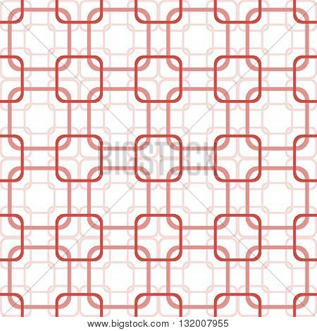 Abstract seamless pattern of overlapping square frames with rounded corners. Endless graphic print in red and white colors. Vector illustration for various creative projects