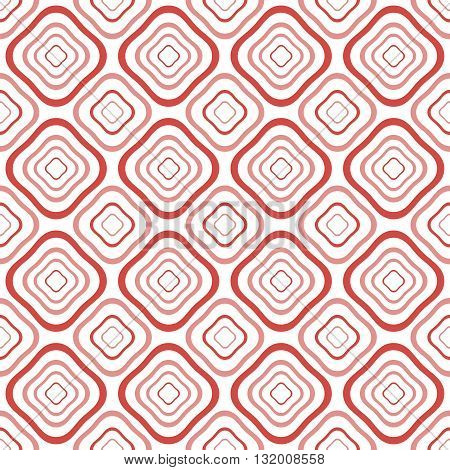 Abstract seamless pattern of distorted diamond shaped geometric elements with rounded corners one inside the others in white, red, pink colors. Vector illustration for modern creative design