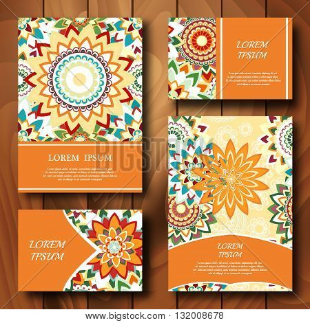 Vector templates set. Business cards banners fliyers or invitations with mandala ornaments. Islam Arfbic Indian Turkish Ottoman Pakistan motifs. Design template.