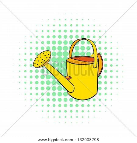 Watering can icon in comics style on dotted background. Gardening symbol