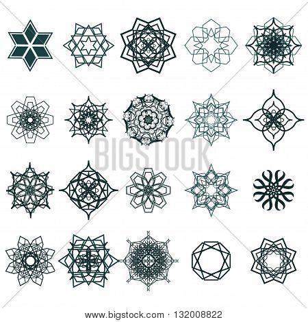 20 Ramadan Kareem geometric ornamental signs. Vector set of arabic seamless textures. Ramadan Kareem. EPS