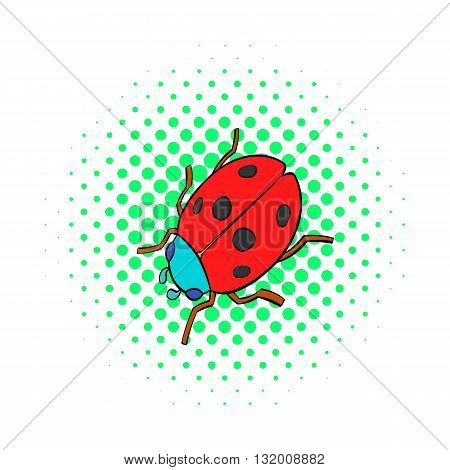 Ladybug icon in comics style on dotted background. Insects symbol