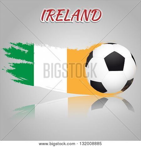 Flag of Ireland with the soccer ball. National flag in vintage style. Brush as a national flag.