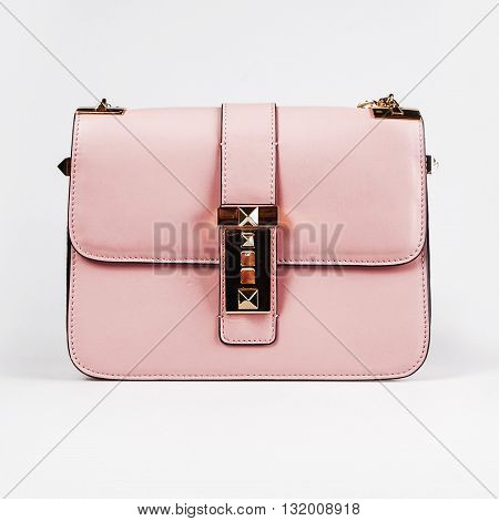 Pink leather tablet computer bag on a white background