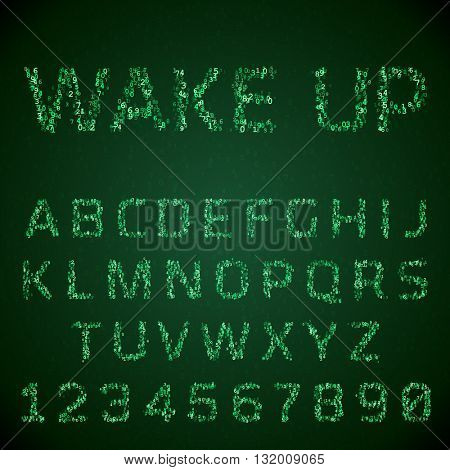 Vector font made of digital numbers. Glowing green symbols hacker style. Virtual reality concept. Latin letters from A to Z and numbers from 0 to 9.