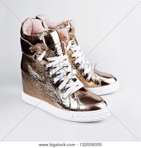 Women's Gold Sneakers