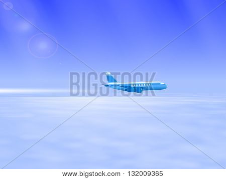 Vector illustration of the plane in the sky. Flying above the clouds airplane. Plane leaving a white trail behind him. Tourist plane.