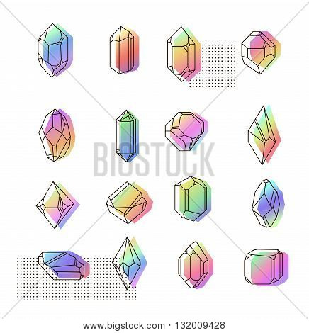 Set space crystals for prints. Hipster style fabric. Gasoline colors memphis.