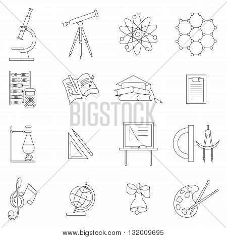 Science icons set thin line style isolated on white background