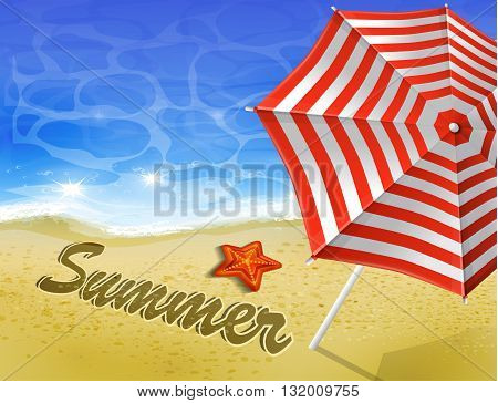 Beautiful beach top view with starfishes umbrella and word on the sand