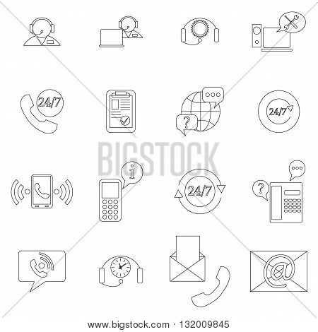 Support service icons set in thin line style isolated on white background