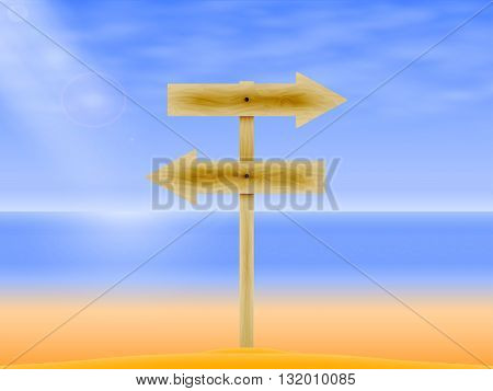 Vector illustration of a wooden rail road arrow on the background of the sea. Wooden board with a direction. Wooden signpost.