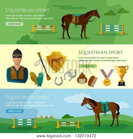 Equestrian sport banner professional jockey club vector illustration
