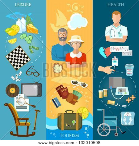 Nursing home banners pensioner active lifestyle social care vector illustration