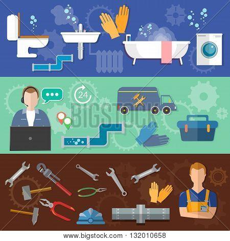 Call plumbing banner professional plumber repair water pipes vector illustration