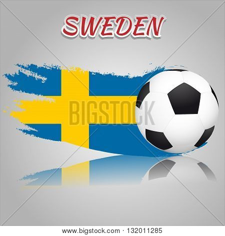 Flag of Sweden with the soccer ball. National flag in vintage style. Brush as a national flag.