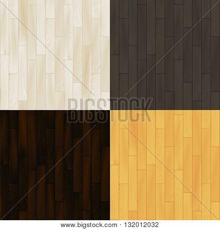 Realistic wooden floor parquet seamless patterns set, vector background