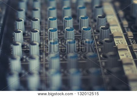 music mixer - studio equipment macro - vintage filter