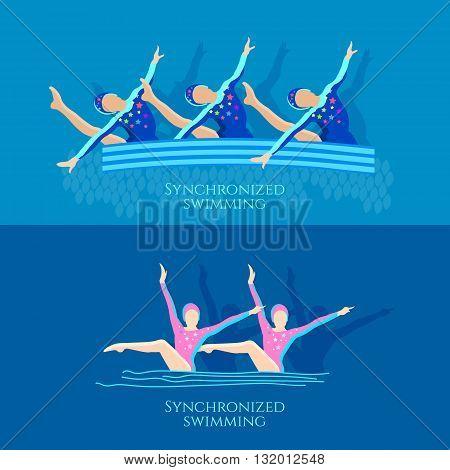 Synchronized swimming banner girls team athletes vector illustration