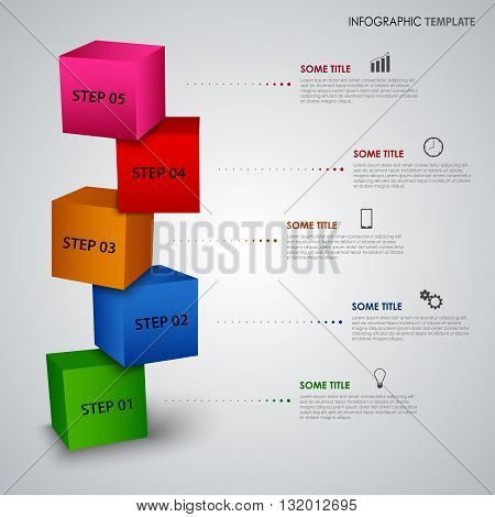 Info graphic with colored design cubes template vector eps 10