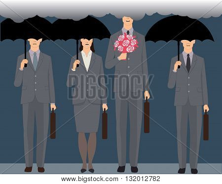Man in love. A smiling man with a bouquet standing an a crowd of faceless business people under black umbrellas, his head is in the clouds, vector illustration