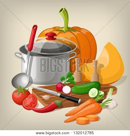 Kitchen utensils and vegetables. Vector kitchen background.
