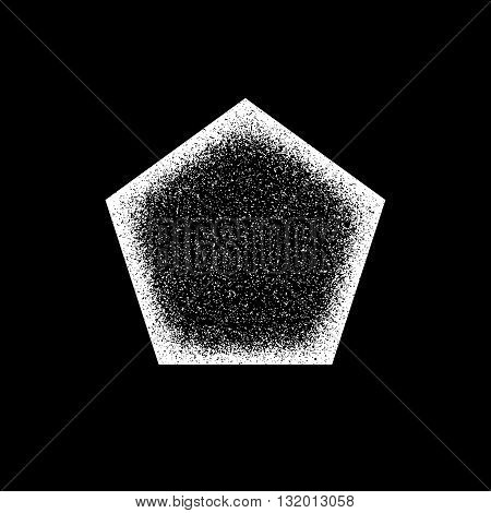 White abstract geometric shape, polygon, hex badge with film grain, noise, dotwork, grunge texture and black background for logo, design concepts, posters, banners, web and prints. Vector illustration