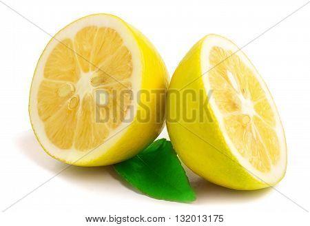 Lemon with leaf isolated on white. Best quality studio photo.