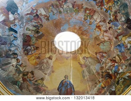 FLORENCE, ITALY - JUNE 05: Fresco on the ceiling of the Saint Philip Neri church, Complesso di San Firenze in Florence, Italy, on June 05, 2015