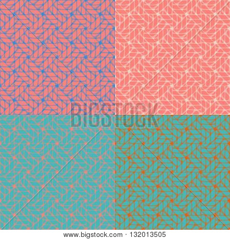 Set of 4 Seamless abstract pattern in geometric style - EPS10