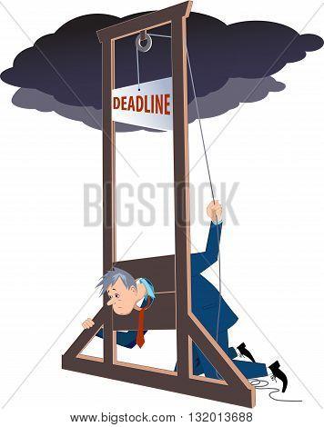 Businessman under a guillotine deadline, EPS8 vector illustration